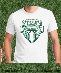 Central Valley, CA - White Tee with Forest Green Design Zoom