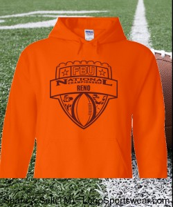 Reno - Orange Hoodie with Maroon Design Zoom