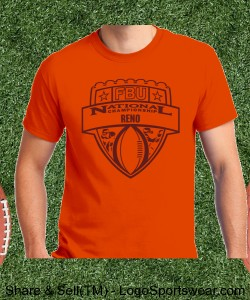 Reno - Orange Tee with Maroon Design Zoom
