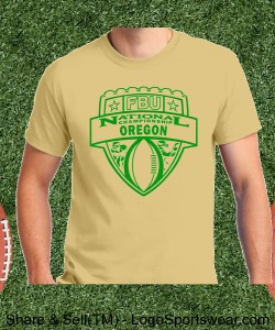 Oregon - Vegas Gold Tee with Kelly Green Design Zoom
