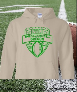 Oregon - Sand Hoodie with Kelly Green Design Zoom