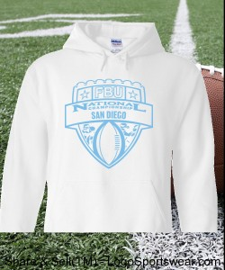San Diego - White Hoodie with Light Blue Design Zoom